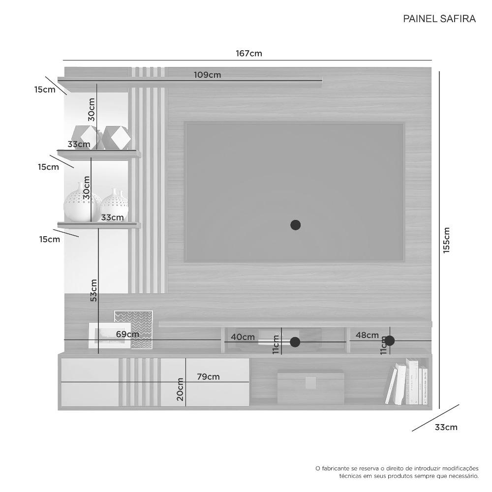 Painel Safira Cacau E Grigio - JCM Movelaria
