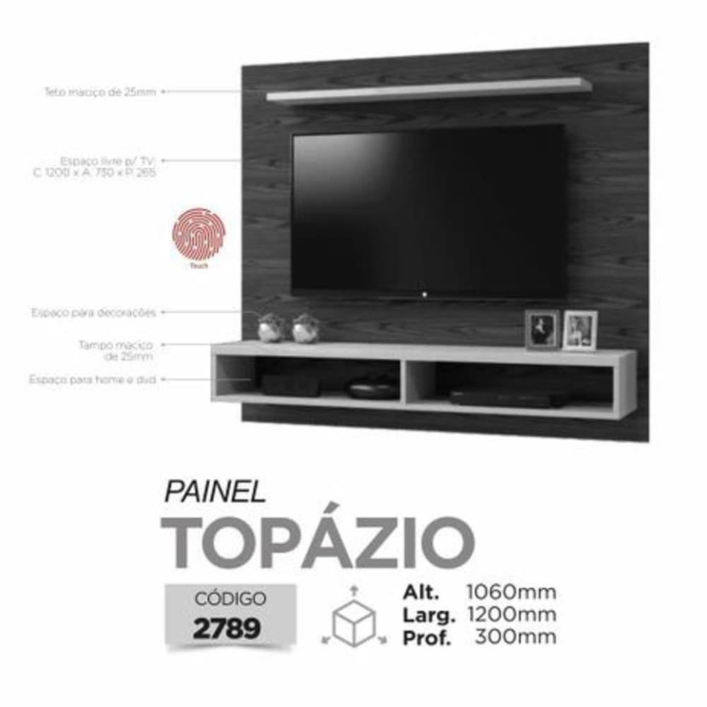 "Painel TV até 50"" Topázio - Mel/Off White - Mavaular"
