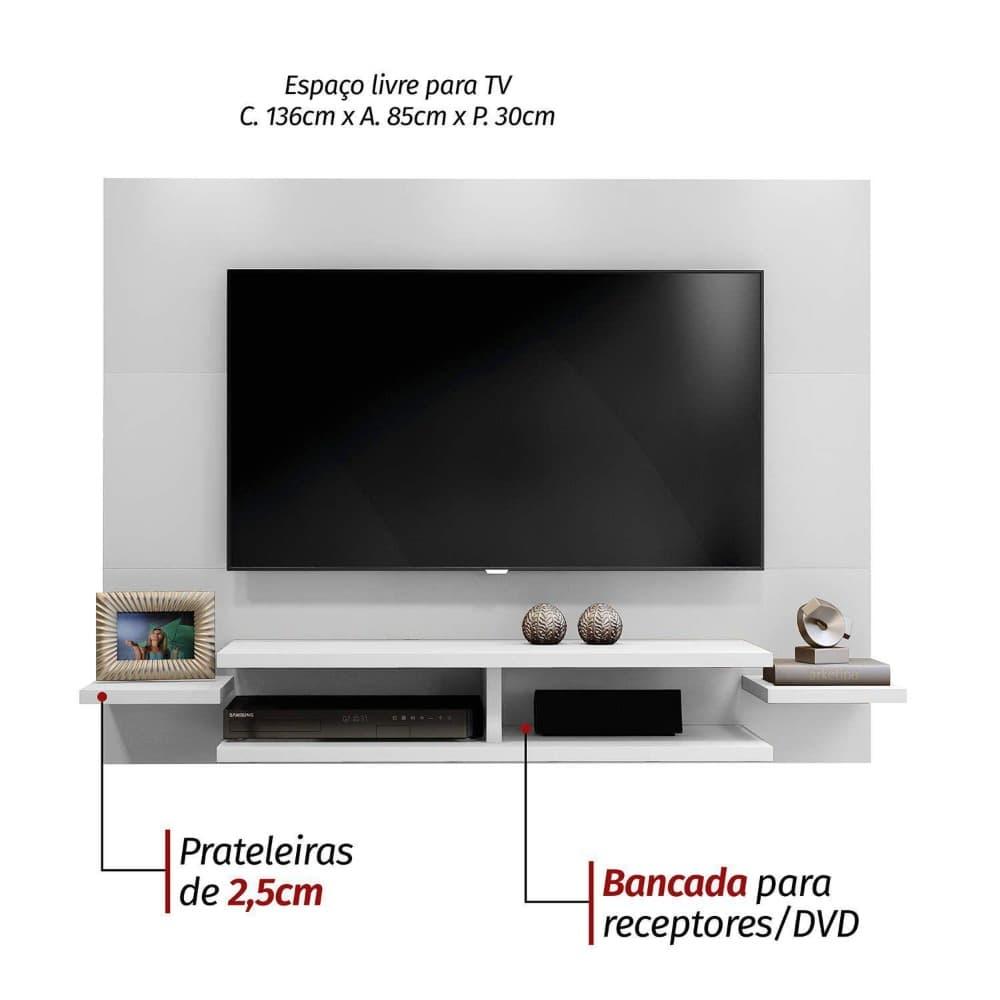"Painel TV até 55"" Vitória -  Branco - Mavaular"