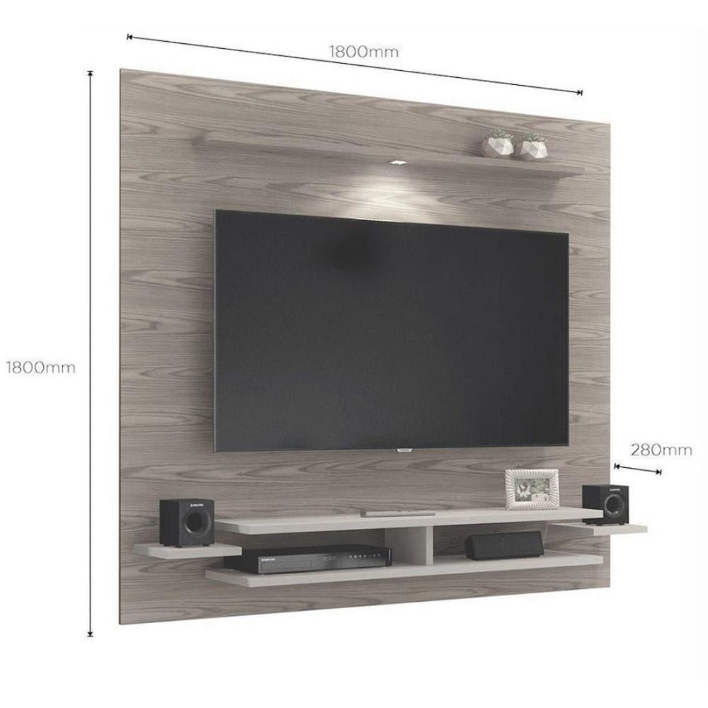 "Painel TV até 65"" Mavaular New- Mel/Off White - Mavaular"