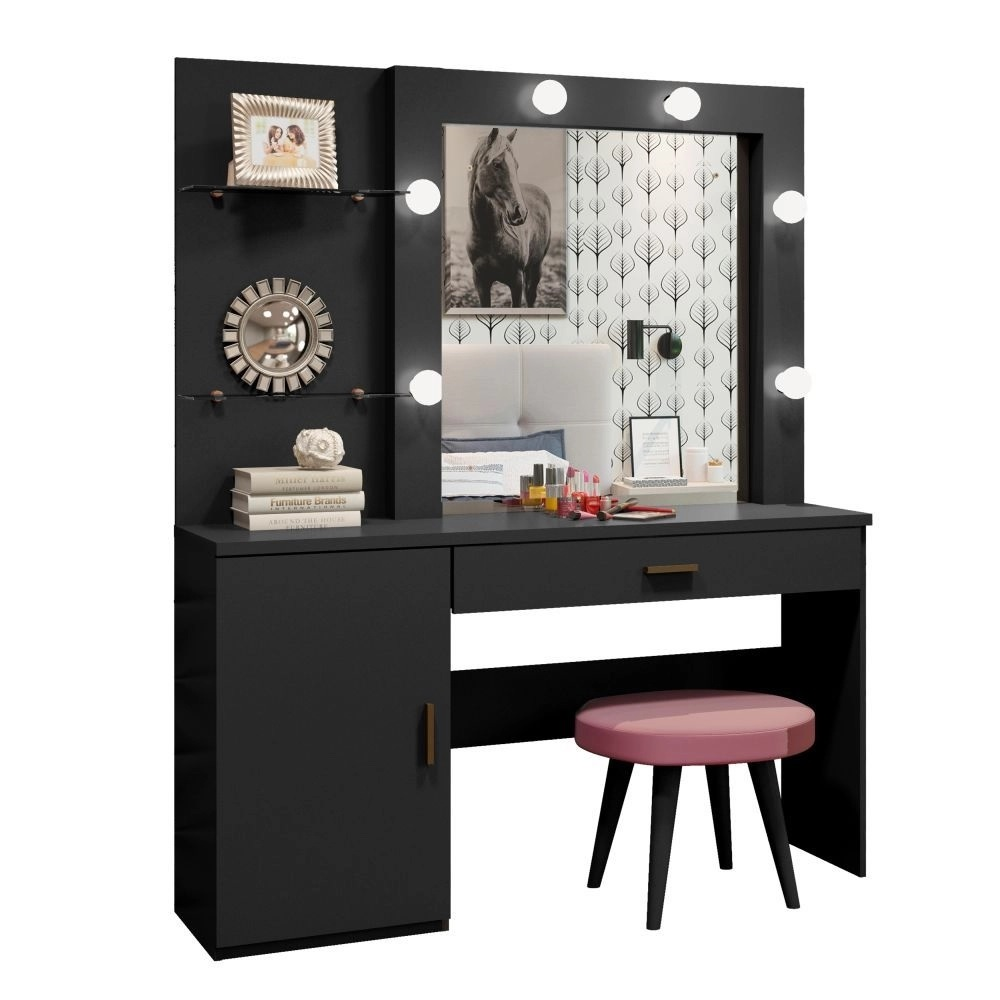 Penteadeira Camarim c Espelho 1 Porta Bella Preto - Mavaular