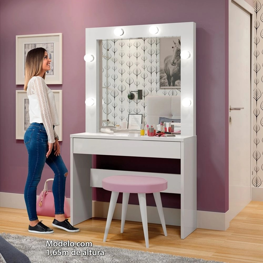 Penteadeira Camarim c Espelho Romance  -  Branco - Mavaular