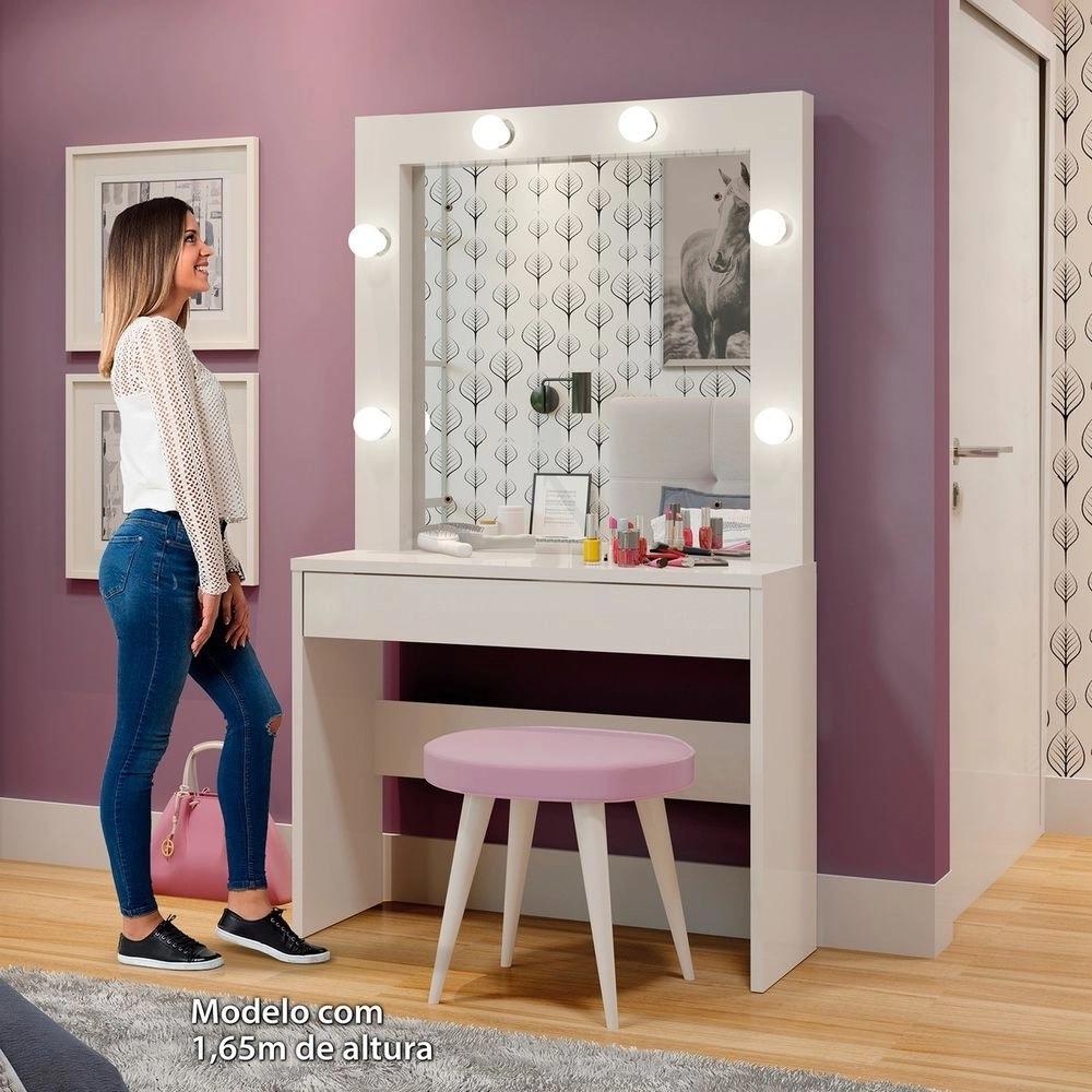 Penteadeira Camarim c Espelho Romance - Off White - Mavaular