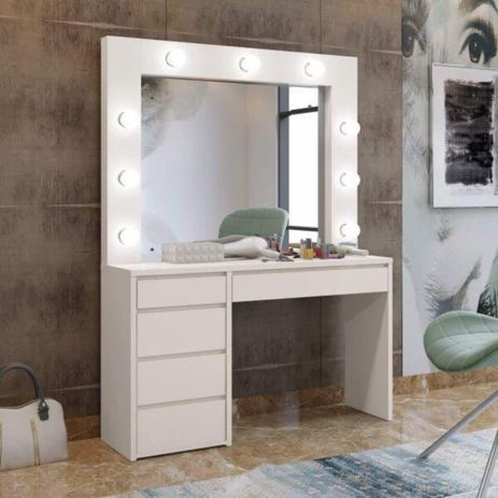 Penteadeira Camarim com Espelho 5 Gavetas Berlim Plus Mavaular - Off White - Mavaular