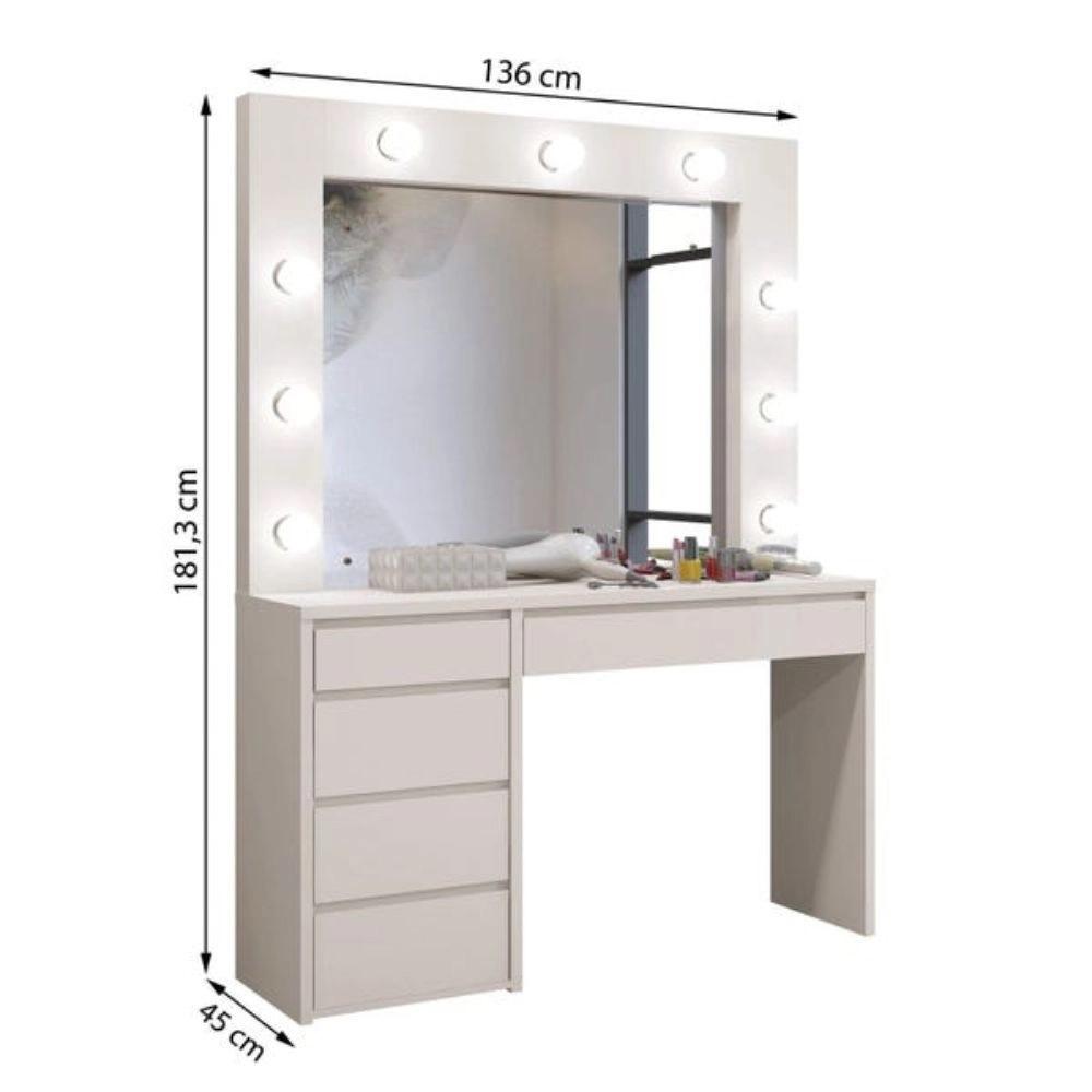 Penteadeira Camarim com Espelho 5 Gavetas Berlim Plus Mavaular - Preto - Mavaular