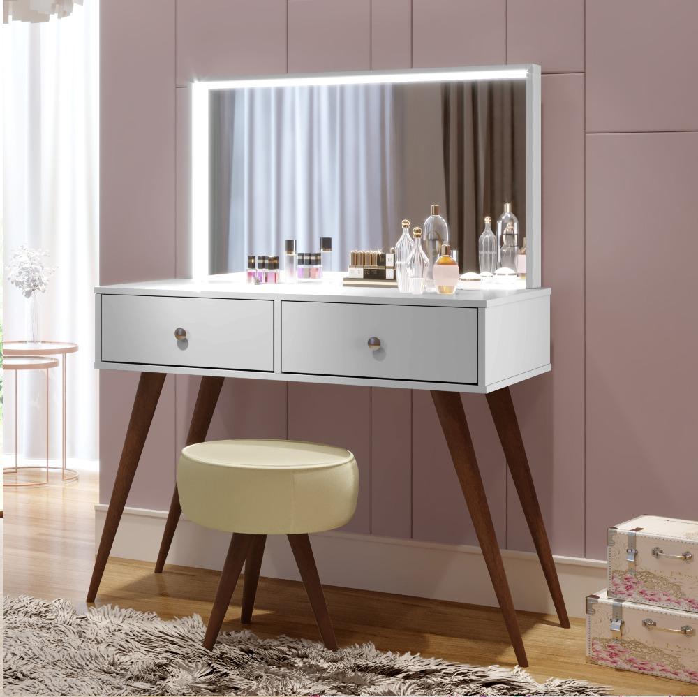Penteadeira Camarim com Espelho e LED Prisma - Branco -Tigus Baby