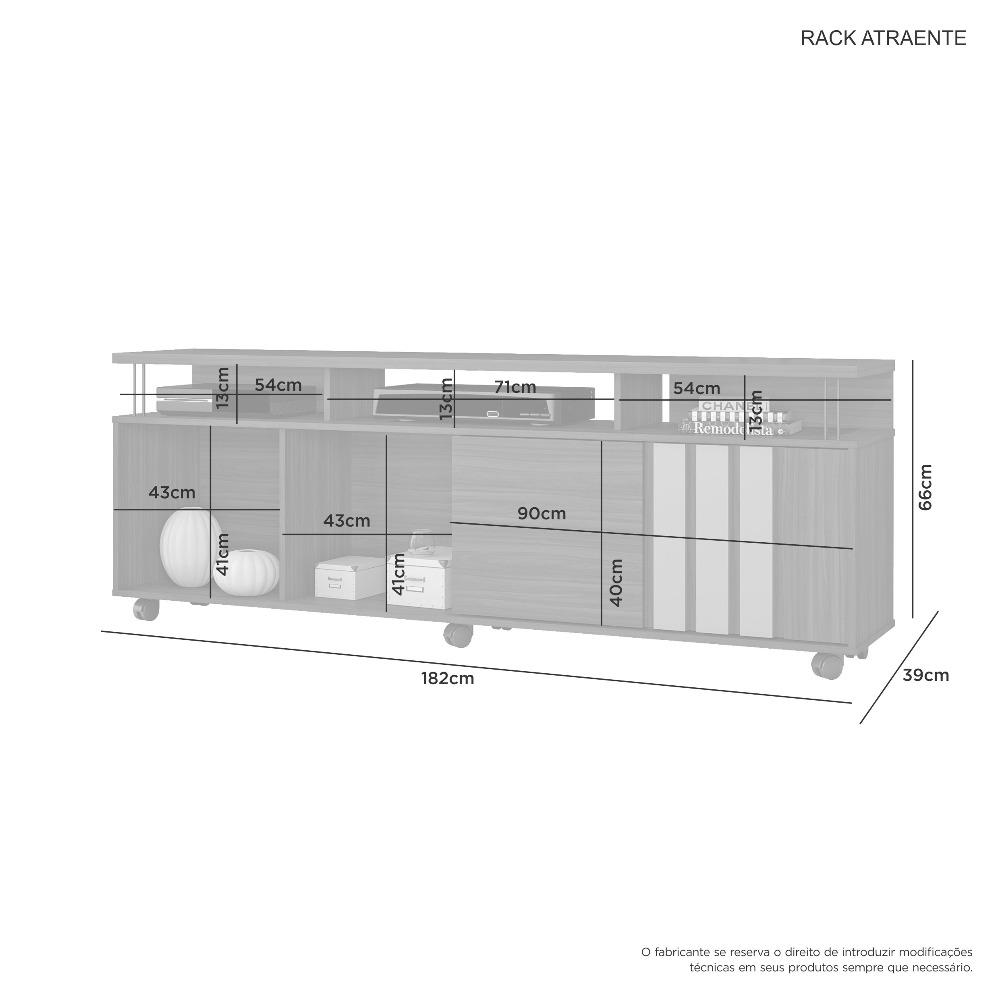 Rack Atraente Noronha E Grafite - JCM Movelaria