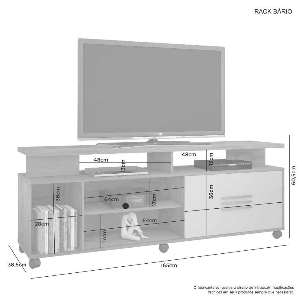 Rack Bario Cacau/Cacau Grigio - Flex - JCM Movelaria