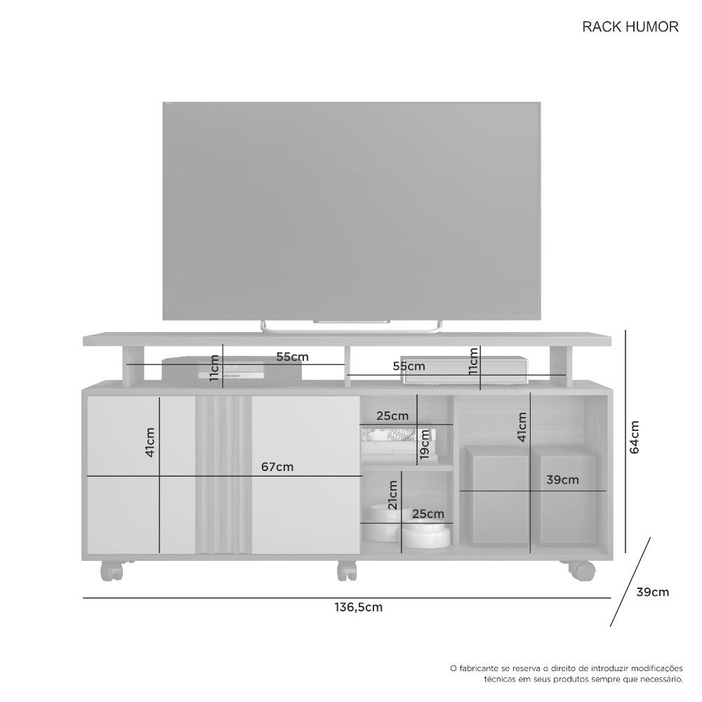 Rack Humor Cacau/Cacau Grigio - Flex - JCM Movelaria