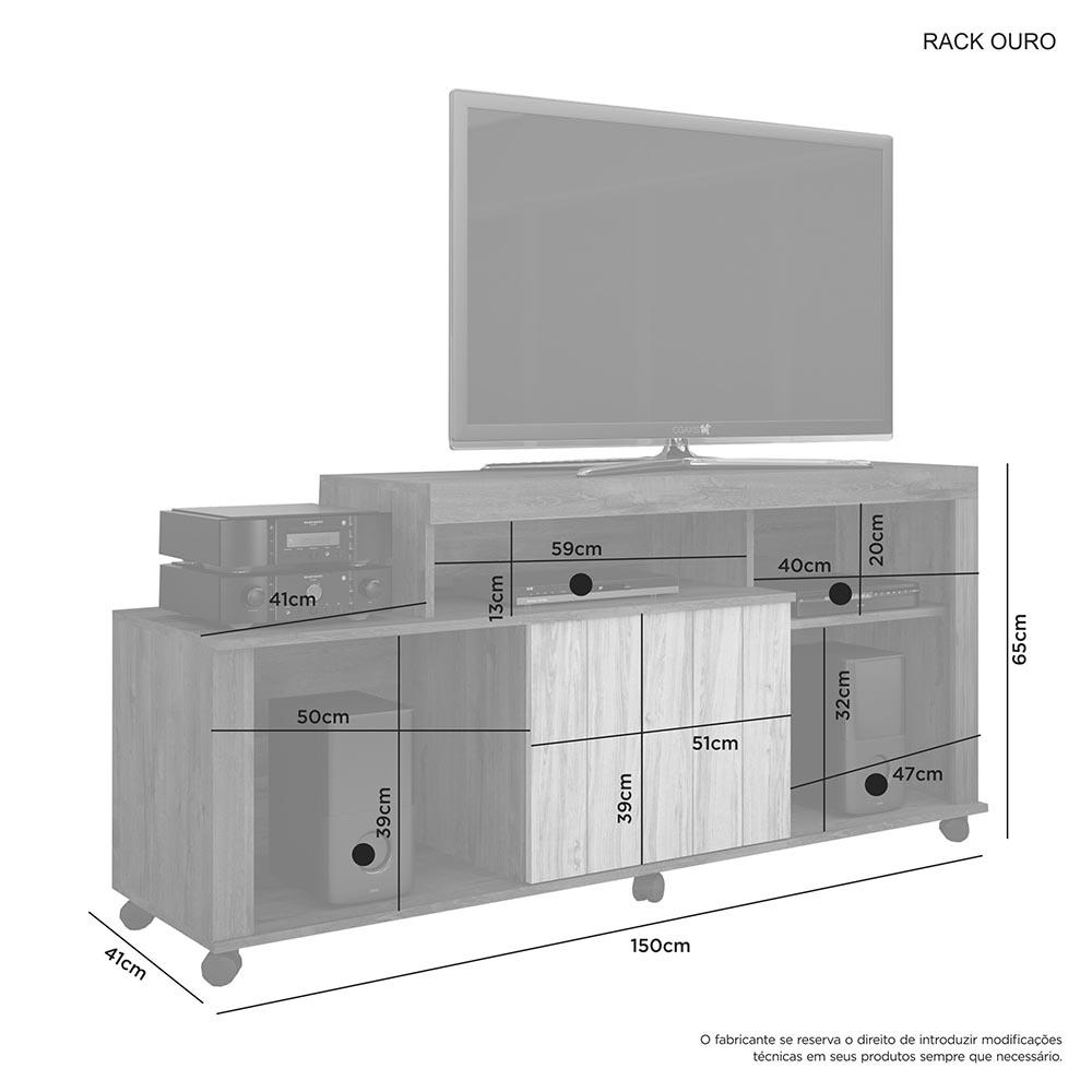 Rack Ouro Cacau/Grigio - JCM Movelaria