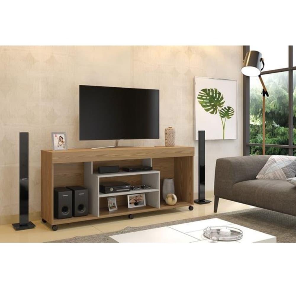 """Rack TV até 60"""" Free   - Damasco Soft/Off White - Mavaular"""