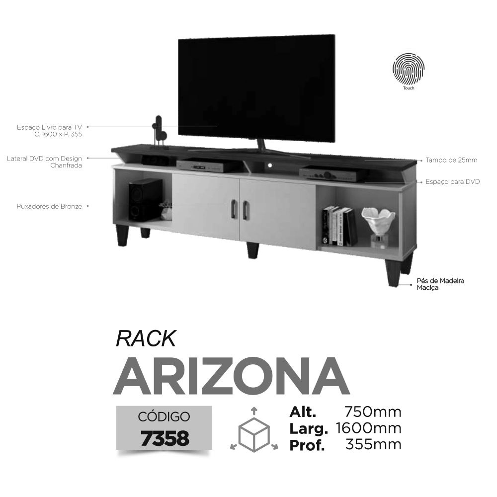 "Rack TV até 65"" Arizona - Preto - Mavaular"
