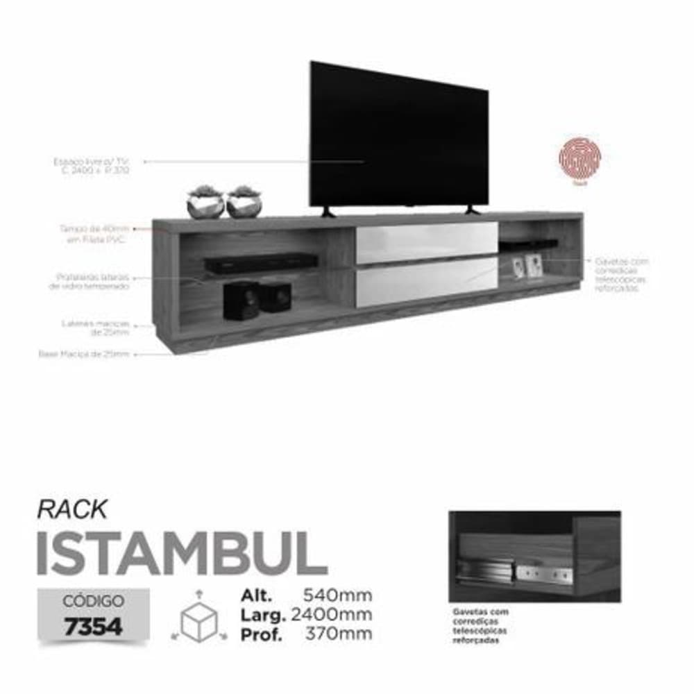 "Rack TV até 65"" S/Espelho Istambul - Preto - Mavaular"