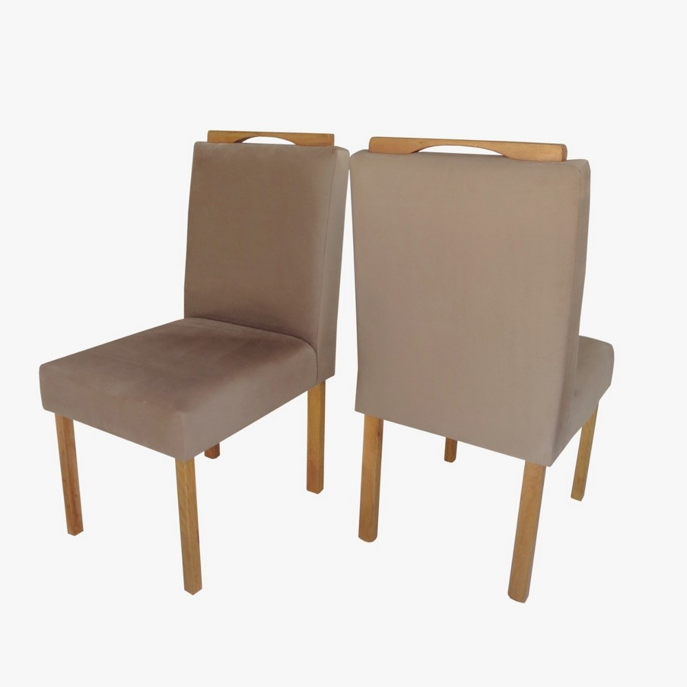 Sala de Jantar Roma 4 Cadeiras Off White/mel - Móveis Mundial