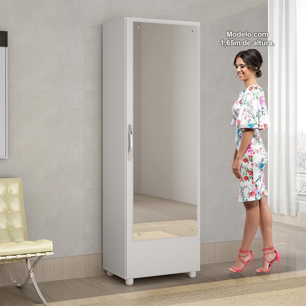 Sapateira com Espelho 1 Porta Milão Branco - CHF