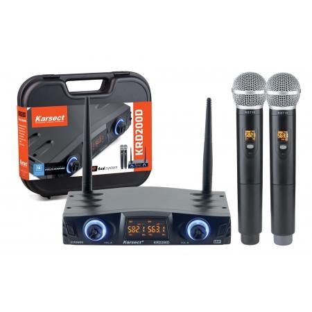 Microfone S/fio Karsect Krd200dm Duplo Mao