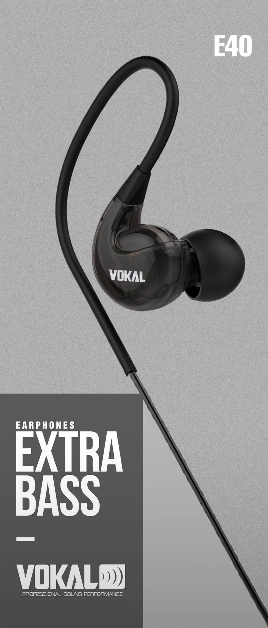 Fone de Ouvido Vokal E40 In Ear Preto