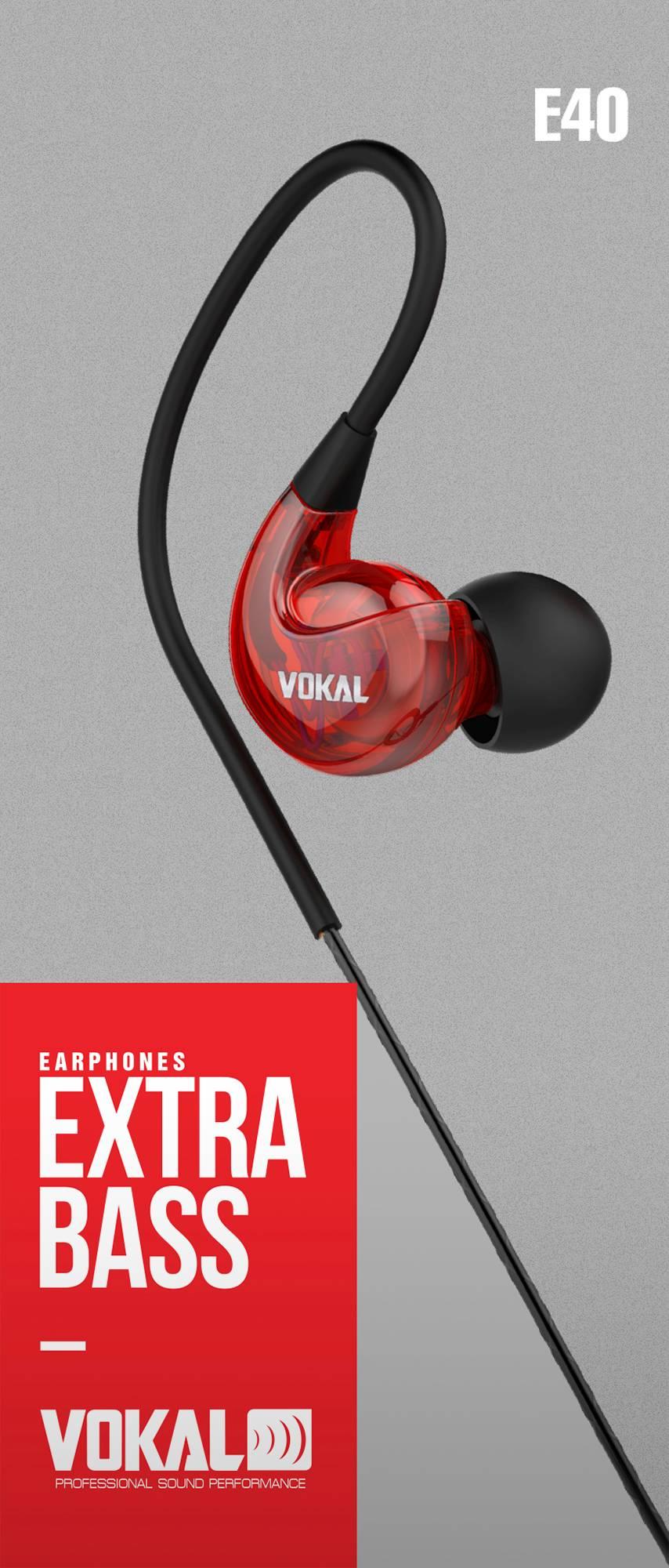 Fone de Ouvido Vokal E40 In Ear Vermelho