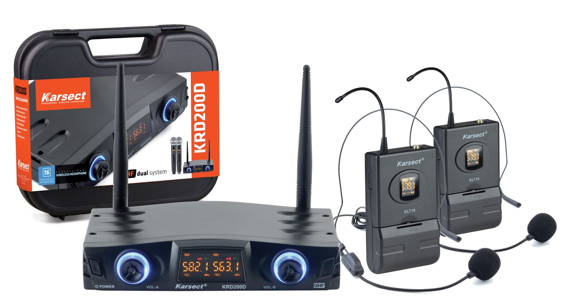Microfone S/fio Karsect Krd200dh Duplo Headset