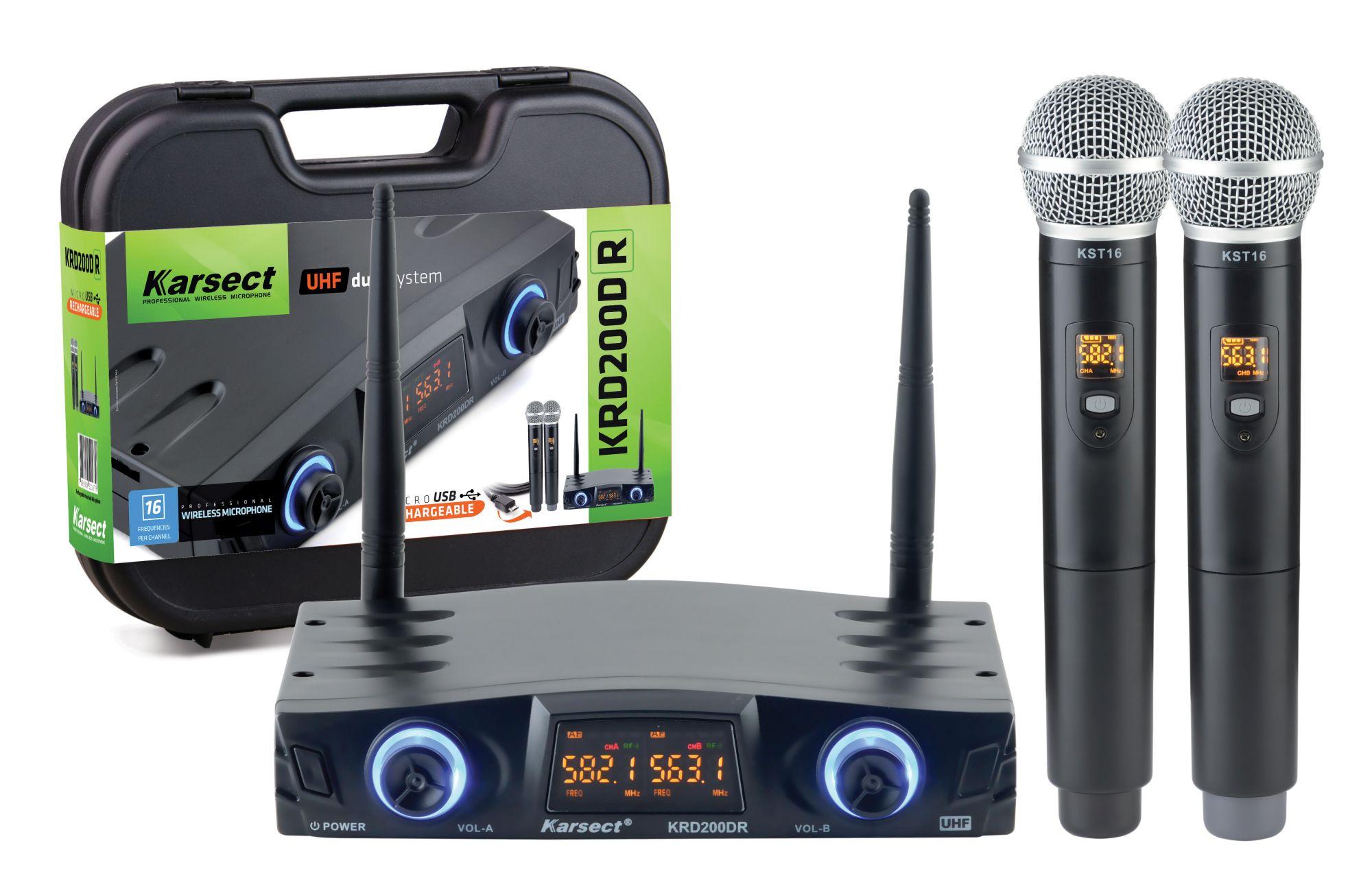 Microfone S/fio Karsect Krd200dr Duplo Mao Recarregavel