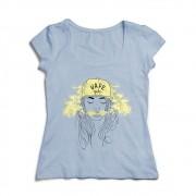Camiseta Baby Look Azul - Estampa Vape Girl