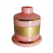Vaso Pequeno Shisha Glass - EVOLUTION (reto) com FAIXA GREGA dourada - Rosa