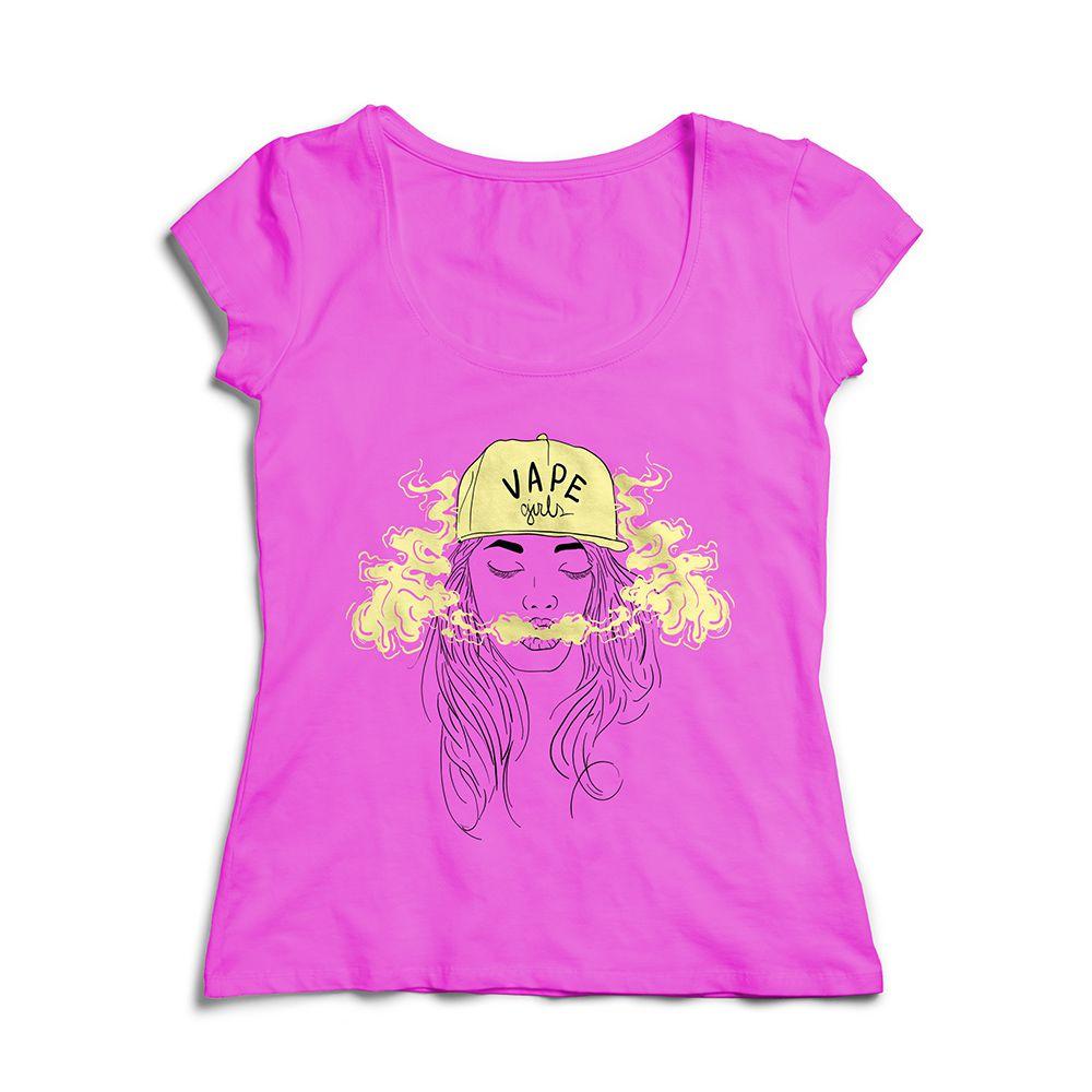 Camiseta Baby Look Rosa - Estampa Vape Girl