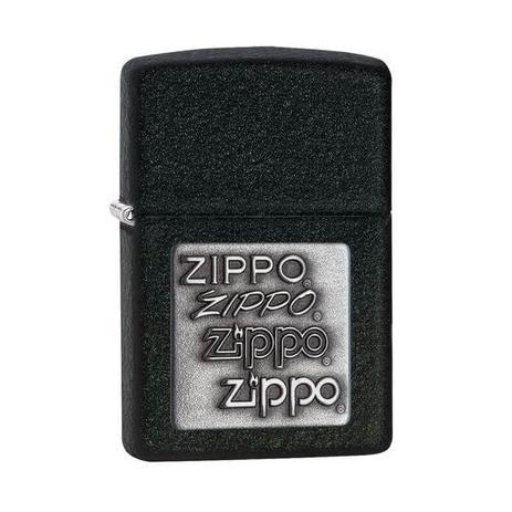 Isqueiro Zippo Black Crackle Silver Logo 363