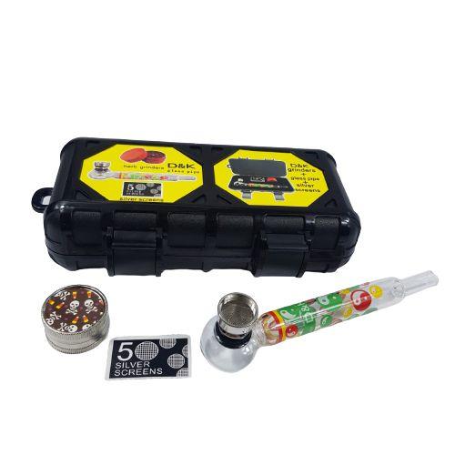 Kit D&K Pipe Vidro + Triturador