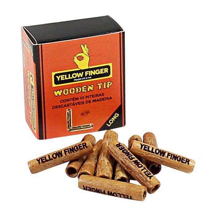 Piteira Yellow Finger - Wooden Tip (10 unidades)