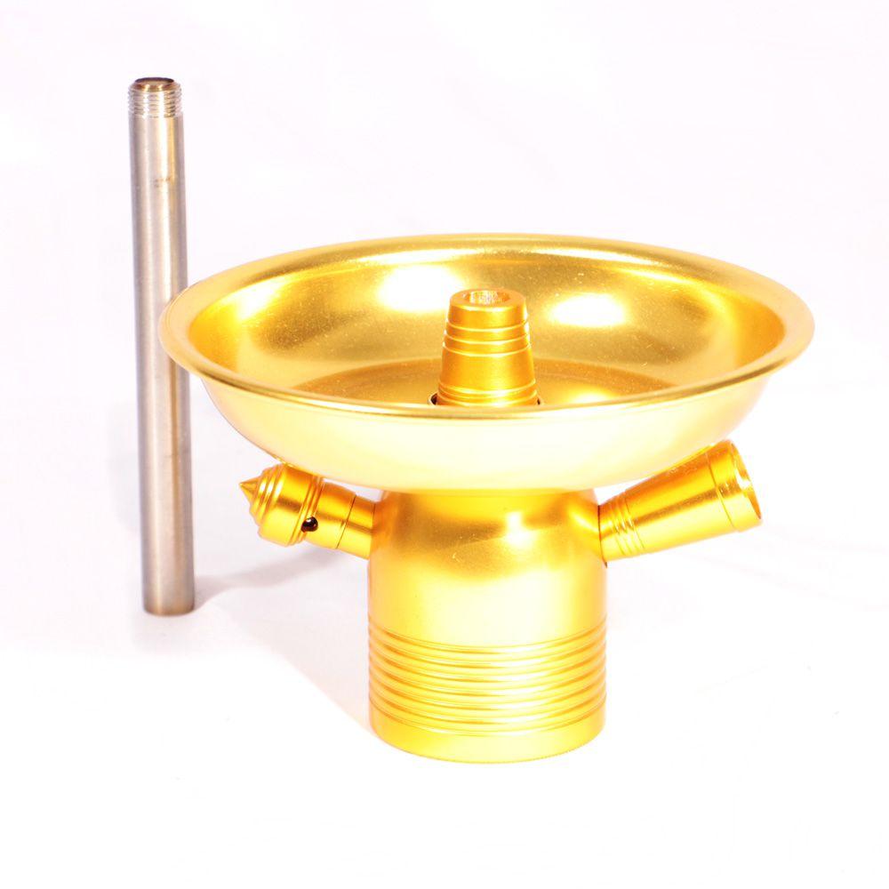 Stem + Prato Narguile Kimo Completo 9cm - Dourado