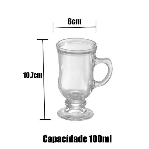 Kit 6 Xícaras Taça Caneca De Vidro P/ Capuccino Café 100ml
