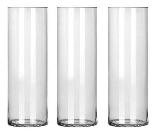 Kit 3 Vasos Tubo Copo Cilindro De Vidro 17x50cm Decoração