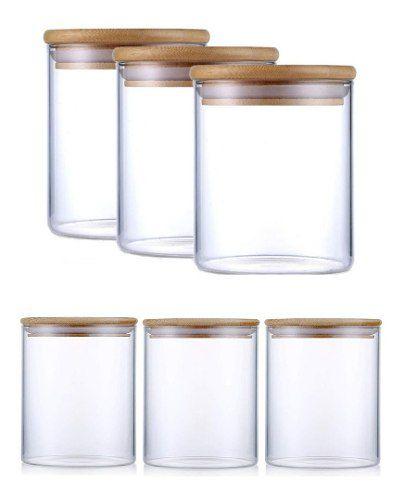Kit 6 Potes De Vidro Tampa De Bambu 3 480ml E 3 250ml