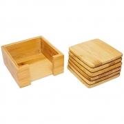 6 Porta Copos Com Suporte Em Bambu Quadrado Para Mesa