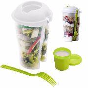 Copo Para Salada E Frutas Com Garfo E Porta Temperos 700ml