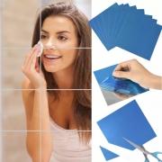 Adesivo Espelhado 3D Para Parede E Azulejos 9 Peças 15X15Cm