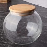 Pote Hermético Baleiro De Vidro Com Tampa De Bambu 1400Ml
