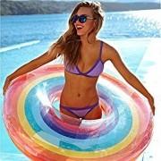 Boia Gigante Inflável Arco Iris Para Piscina Praia 120cm