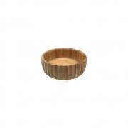 Bowl Em Bambu Tigela Redonda Canelada Cozinha 15CM