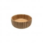 Bowl Em Bambu Tigela Redonda Canelada Cozinha 18,5CM