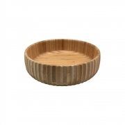 Bowl Em Bambu Tigela Redonda Canelada Cozinha 21,5CM