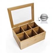 Caixa Organizadora 6Div Multiuso De Bambu Com Infusor De Chá