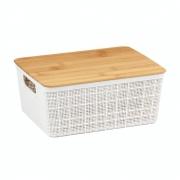 Caixa Organizadora Com Tampa de Bambu Branco 12 Litros