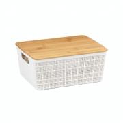 Caixa Organizadora Com Tampa de Bambu Branco 4 Litros