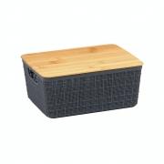 Caixa Organizadora Com Tampa de Bambu Cinza Claro 4 Litros
