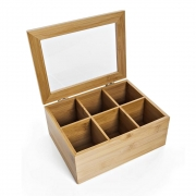 Caixa Organizadora Multiuso De Bambu Para Chá Café 6Div