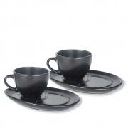 Conjunto 2 Xícaras Com Pires Cerâmica Preto Para Café 200Ml