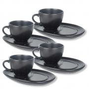 Conjunto 4 Xícaras Com Pires Cerâmica Preto Para Café 200Ml