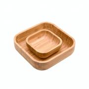 Conjunto Bowl Em Bambu Quadrada Para Cozinha Decoração